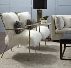 Copycat $1500 Gold/Fur Chair DIY for $215 at The Preppy Leopard