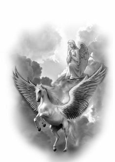 Zeus Tattoo, Statue Tattoo, Horse Tattoo Design, Tattoo Designs, Cool Little Tattoos, Pegasus Tattoo, Greek Mythology Tattoos, Cloud Tattoo, Leg Tattoo Men