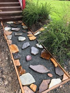 The Mission: Replacing an ugly concrete pathway with a unique and intricate stone mosaic pathway. (Yes I have the Mission Impossible theme in my head)A lot of h…creating a stone mosaic front garden path, It s starting to come Magnificent Front Garden Path, Stone Garden Paths, Garden Stones, Pathway Stone, Rock Pathway, Walkway Garden, Front Path, Diy Garden, Balcony Garden