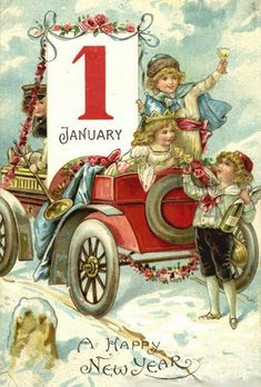 Vintage Antique Christmas New Year Postcard:January Champagne Toast,Car,Snow Vintage Happy New Year, Happy New Year Images, Happy New Year Cards, New Year Greetings, New Year Pictures, Birthday Greetings, Vintage Greeting Cards, Vintage Christmas Cards, Vintage Holiday