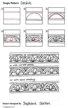 Deelish zentangle pattern by Stephanie Skelton Tangle Doodle, Tangle Art, Zen Doodle, Doodle Art, House Doodle, Doodle Borders, Doodle Patterns, Zentangle Patterns, Embroidery Patterns