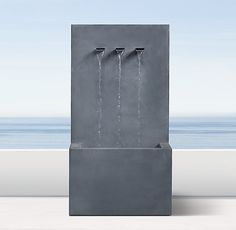 Weathered Zinc Wall Fountain 3-Spout