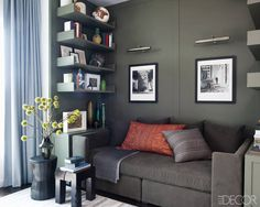 Hilary Swank's Home: The custom-made paneling and shelves are painted in Benjamin Moore's Dark Olive.