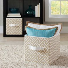 Better Homes and Gardens BH14-098-099-14 Collapsible Fabric Storage Cube – Set of 2 (Tan Greek Key)