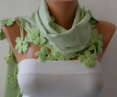 ON SALE - Mint Scarf  Pashmina  Scarf  - Cotton Scarf - Women Scarf - Cowl with Lace  Edge - Light Green - Pistachio - fatwoman