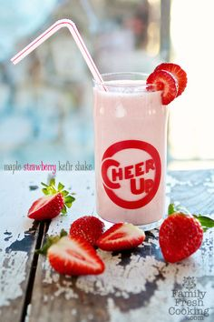 Strawberry-Maple Kefir Shake | Recipe on FamilyFreshCooking.com