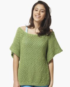 Knit this trendy top in one easy piece, perfect for the bright colors popular in spring. Shown in Bernat Satin.