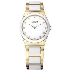 Bering Ladies White Dial Gold Ceramic Bracelet Watch 32230-751