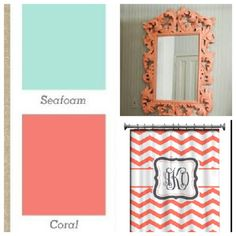 Seafoam walls and coral accents for our bathroom.  with the martha stewart color punch   also i can do the martha stewart blue or gold theme stencil