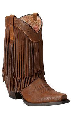 Ariat New West Women's Terra Brown Gold Rush Snip Toe Fringe Western Boots