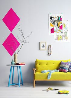 ♡ Neon home interiors. Temporary Touches: If you're waffling about wall color, why not try a temporary stencil? You could go crazy with whatever color struck your fancy and play around with a couple stripes or geometric shapes. (via Hibrid)