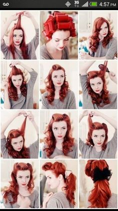 Pin up hairstyle. Now if only I could get my hair to actually do these things.