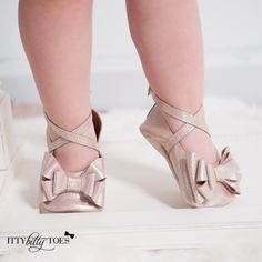 Lace Up Moccs (Rose Gold) - Itty Bitty Toes  - 1
