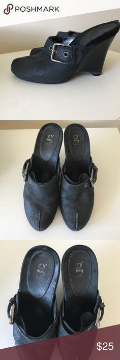 Cole Haan g-series wedges mules shoes, 7 Cole Haan g-series wedges shoes, Size 7 B. Black metallic leather. Good condition, worn a few times, still have a lot of life left. Please look at the  pictures carefully. Sold as is Cole Haan Shoes Wedges