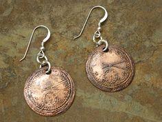 Etched Copper Steampunk Earrings Sterling by LadearJewellery