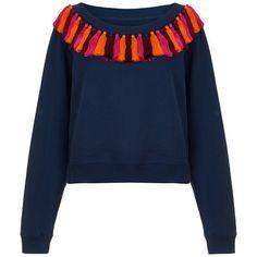 House Of Holland Tasselled Sweatshirt ($305) ❤ liked on Polyvore featuring tops, hoodies, sweatshirts, navy, boatneck top, boat neck sweatshirt, boat neck tops, navy sweatshirt and bateau neckline tops