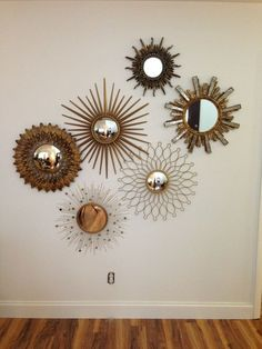 45 Inovative Ideas of Mirrors and Wall Art - There are alternatives to those plain boring white walls! Find mirrors and wall art and more on hac - Mirror Collage, Mirror Wall Art, Diy Mirror, Wall Collage, Wall Decor With Mirrors, Wall Mirror Ideas, Sunburst Wall Decor, Mirror Gallery Wall, Convex Mirror
