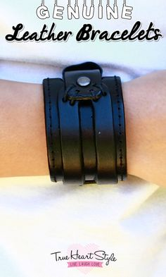 Double Layered, Double Banded Leather Cuff with Stitching and Snap Close…