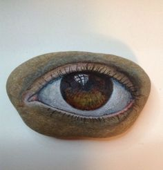 Original painting outsider art stone Artist Kaveman Hamsa 3rd Eye Rock ooak #OutsiderArt