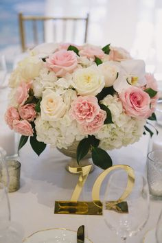 Pink and White Centerpiece | photography by http://www.closertolovephotography.com