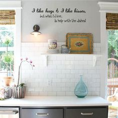 I Like Hugs & Kisses Help With Dishes Vinyl Decal   Home Decor, Wall Art, Kitchen, Dining Decals 29x8 Kitchen Vinyl, Oracal Vinyl, Like Me, Vinyl Decals, I Shop, Dishes, Wall Art, Hugs, Kitchen Dining