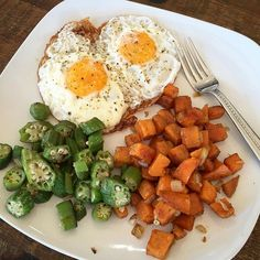 """""""Breakfast for the win!  My in-laws loved today's breakfast.  Free range eggs, okra cooked in coconut oil and seasoned with adobo. Sweet potatoes fried in coconut oil with onion, garlic and seasoned with @celticseasalt, pumpkin pie spice, ginger and cinnamon.  My father-in-law has type 2 diabetes so I'm feeding him foods that will help control his blood sugar. Okra is amazing for diabetics and he told me this was the first time he's ever had okra! Winning!  He loved it!!"""