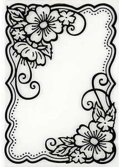 Hot off the Press - Embossing Folder - Flower Corners Más Leather Tooling Patterns, Leather Pattern, Wood Burning Patterns, Wood Burning Art, Fun Diy Crafts, Paper Crafts, Colouring Pages, Coloring Books, Leather Carving