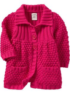 "Quero fazer essa ""Lindo \""Lindo \""Navy Heather otte Heather dark conjac for unisex\"", \""This is sooo cute since its PINK! Baby Cardigan Knitting Pattern Free, Kids Knitting Patterns, Knitting For Kids, Knit Cardigan, Knit Baby Sweaters, Girls Sweaters, Sweater Coats, Baby Coat, Knitted Coat"