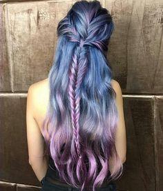 красота, синий, тесьма, красочно, цветные волосы, цвета, окрашенные, окрашенные волосы, волосы, прическа, розовый, фиолетовый, стиль