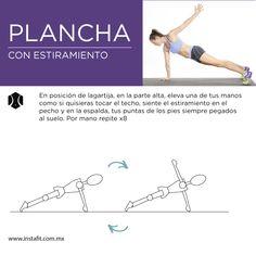 Una variante de la plancha, trabaja el pectoral con este movimiento de forma más específica.
