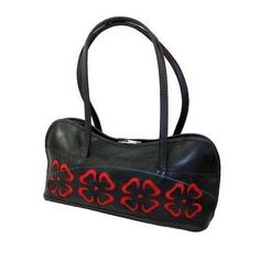 Cut Out Flower Tire Bag (Macrame and Recycled Bags). This bag is made from recycled tires with brilliant red fabric peaking through floral cutouts. Dimensions are 14 inches wide by 7 inches tall with a wide base. Tyres Recycle, Upcycle, Recycled Tires, Recycled Rubber, Reuse Recycle, Recycled Materials, Used Tires, Red Shoulder Bags, Flower Bag