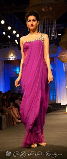 Gallery - Jyotsna Tiwari - Of Ball Gowns & Lenghas - Aamby Valley India Bridal Week 2012 Indian Bridal Fashion, Asian Fashion, Braids Maid Dresses, Dress Outfits, Dress Up, Purple Dress, Indian Dresses, Traditional Dresses, Bridal Style