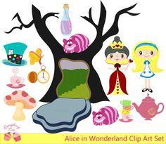Alice in Wonderland Clip Art Set by 1EverythingNice on Etsy