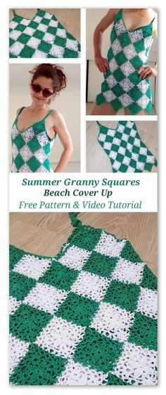 Crochet Blouse Patterns Beach cover up dress. Free pattern, chart and video tutorial - Beach cover up dress made with lace granny squares. No sewing project. Free pattern, chart and video tutorial. Crochet Summer Dresses, Summer Dress Patterns, Crochet Bikini Pattern, Crochet Blouse, Swimsuit Pattern, Crochet Shorts, Crochet Patterns, Crochet Clothes, Crochet Baby
