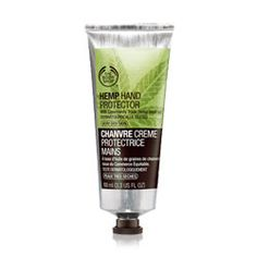 Hemp Hand Protector, by the Body Shop, $10  Has community trade hemp seed oil, which contains essential fatty acids that help repair the skin's moisture barrier. Go hemp!