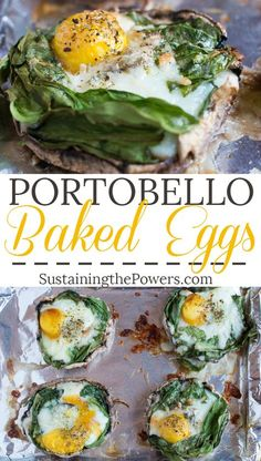 Baked Eggs with Spinach and Mozzarella Eggs baked in portobello mushroom caps!Eggs baked in portobello mushroom caps! Egg Recipes, Brunch Recipes, Cooking Recipes, Egg Dinner Recipes, Spinach Recipes, Drink Recipes, Recipies, Stuffed Mushroom Caps, Stuffed Mushrooms