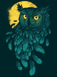 """Vanishing night"" by Daniel Teixeira (Portugal). http://www.behance.net/fromdan. Tags: Linocut, Cut, Print, Linoleum, Lino, Carving, Block, Woodcut, Helen Elstone, Creature, Bird, Beak, Eyes, Owl, Moon, Night."