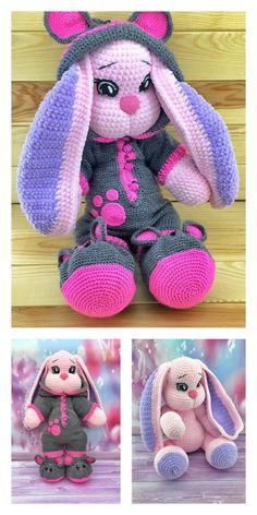 Crochet Amigurumi Free Patterns, Crochet Animal Patterns, Stuffed Animal Patterns, Crochet Dolls, Easter Crochet, Cute Crochet, Crochet Motif, Crochet For Kids, Crochet Disney