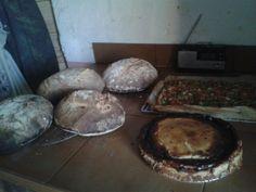 Un poco de todo.  Pan echo al horno de leña, tarta de requeson,  y coca de trampo tipica de mallorca