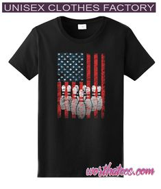 Vintage American Flag Bowling Pin Classic Bowler T-shirt Bowling T Shirts, Bowling Pins, Unisex Clothes, American Flag, Behavior, Tees, Classic, Mens Tops, How To Wear