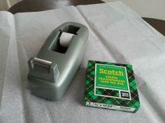 Vintage Office Desktop Metal C-20 Surf Green 3M Scotch Tape Dispenser & Refill