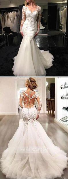 2016958157f4b White V Neck Long Sleeves Mermaid Wedding Dresses