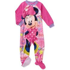 Minnie Mouse Toddler Girls' Micro Fleece Footed PJ, Toddler Girl's, Size: 3 Years, Pink