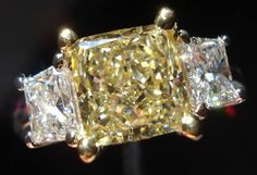 Yellow diamond engagement ring | Yellow princess cut diamond ring