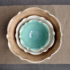 ceramic nesting bowls set of 3 flower shape handmade serving bowls brown turquoise gray white - love these bowls.  Reminds me of some of the stuff I made in sculpture and ceramics in high school