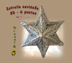 SOL EN SU MUNDO DE PAPEL: Estrella 3D de seis puntas con papel periódico