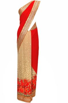 Red and beige thread and bead floral work sari with aari embroidered blouse piece by Sabyasachi.