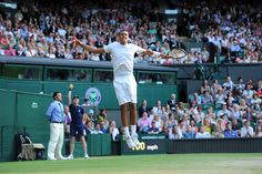Nick Kyrgios leaps into the air after his Fourth round victory on Centre Court - Javier Garcia/AELTC #Kyrgios #Wimbledon2014 #Tennis