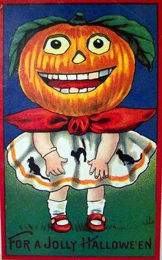 vintage Barton & Spooner Pumpkinhead girl Halloween postcard
