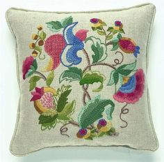 This pretty design uses a variety of crewel embroidery stitches. Kit includes linen union fabric, hand printed with the design outline,